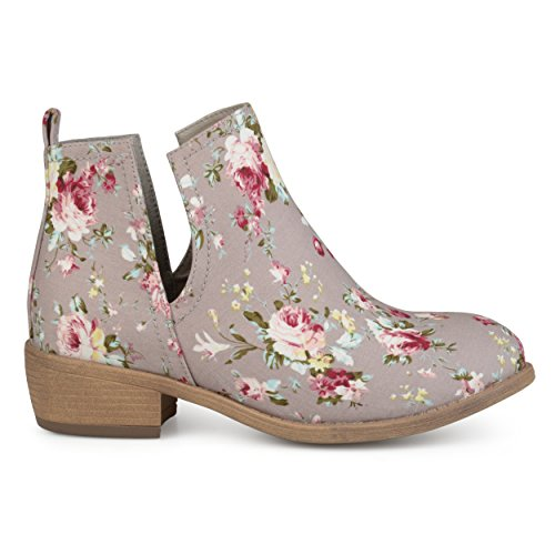 Brinley Co. Womens Floral Fabric Round Toe Stacked Heel Side Slit Booties Taupe, 9 Regular US from Brinley Co