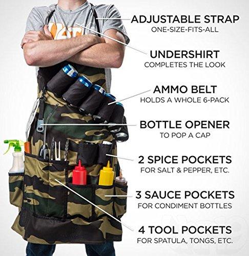 Camouflage Grillschürze Grill Kochen Grill Outdoor Garten 10Multi Pocket