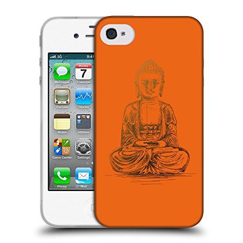 GoGoMobile Coque de Protection TPU Silicone Case pour // Q07690632 Bouddha 4 sécurité Orange // Apple iPhone 4 4S 4G