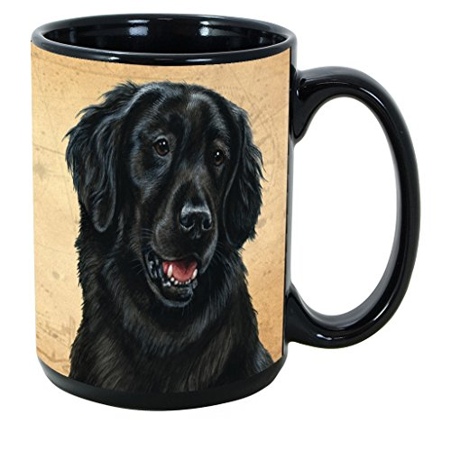 Imprints Plus Dog Breeds (E-P) Flat Coated Retriever 15-oz Coffee Mug Bundle with Non-Negotiable K-Nine Cash (flat coated retriever ()