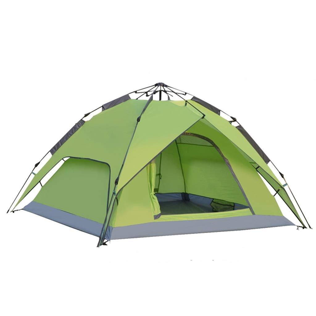 テント テント、アウトドアキャンプキャンプマウンテン自動折りたたみテント、ガラスポールダブルテントは3-4人収容可能、グリーン   B07QXSDBTV