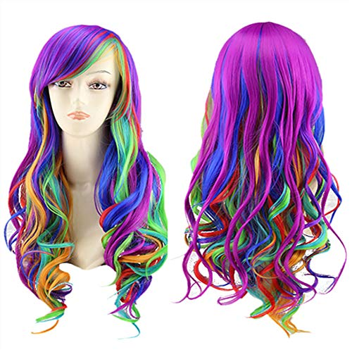 TopWigy Women Anime Cosplay Wig Rainbow Wigs Long Curly Wave Harajuku Style Rainbow Hair Party Costume Lolita Wig (Rainbow 26
