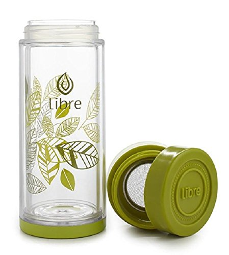Libre 14oz Glass Tea Infuser Bottle with Mesh Strainer for Loose Leaf Tea, Matcha, Fruit, and Cold Brew Coffee, BPA-Free, Lively Leaves Green ()