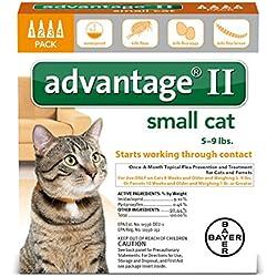 Bayer Advantage II Flea Treatment for Small Cats, 5 - 9 lb, 4 doses