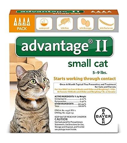 Bayer Advantage II Flea Treatment for Small Cats, 5 - 9 lb, 4 doses - Advantix Flea Treatment