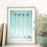 YFFYSY Miami Viajes Poster NóRdico Playa Cocotero Pared Arte Famoso Atracciones Lienzo Pinturas Estilo Verde I