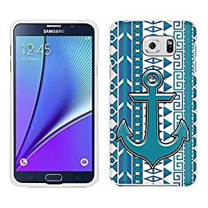 Samsung Galaxy Note 5 Case, Snap On Cover by Trek Anchor on Aztec Vertical Blue Aqua on White Case
