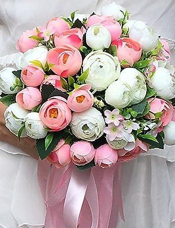 Amazon De Wxtdph Hochzeitsblumen Rundformig Pfingstrosen Strausse