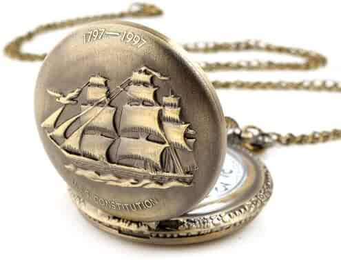 ALIENWOLF Unisex Antique Case Vintage Brass Rib Chain Quartz Pocket Watch Ship