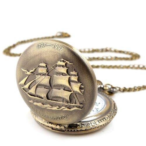 ALIENWOLF Unisex Antique Case Vintage Brass Rib Chain Quartz Pocket Watch Ship