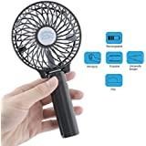 Wooboo Rechargeable USB Fan Portable Handheld Mini Fan Battery Operated Cooling Fan Electric Personal Fans Foldable Fans with 18650 Battery for Home Desktop and Outdoor(Black)