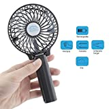 Wooboo Mini Cooli 5th generation Mini Portable USB Rechargeable HandHeld Air Conditioner Summer Cooler Fan,Batteries Powered No Leaf Fan ¡­ (HF-Black)