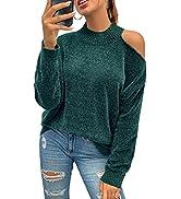 PRETTYGARDEN Women's Velvet Knit Sweater Cutout Long Sleeve Cold Shoulder Loose Warm Jumper Sweaters