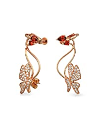 Bling Jewelry Red CZ Butterfly Ear Crawler Earrings Rose Gold Plated Brass