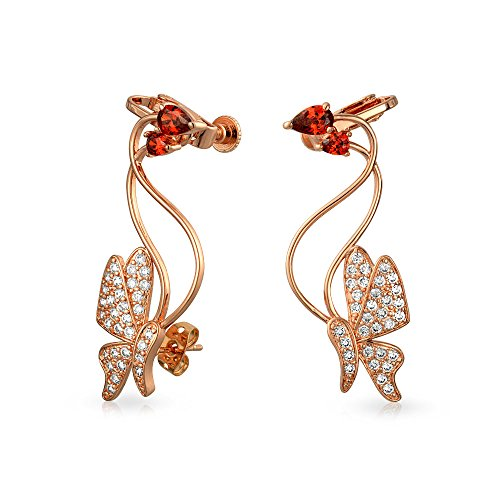 3D Wire Red Cubic Zirconia Garden Insect Butterfly Pave CZ Ear Crawler Earrings For Women Rose Gold Plated ()