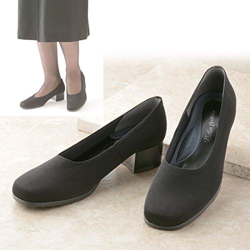 冠婚葬祭 ブラックフォーマル 強撥水 4E 足が楽な布製フォーマルパンプス(24.0) B00NR2FNKK24