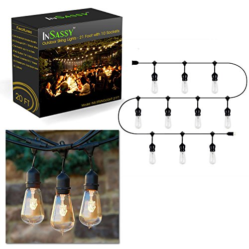 Weather Solar Light Gauge (Outdoor Patio String Lights Weatherproof 20.5 Foot with 10 Hanging Sockets by InSassy – UL Listed Commercial Grade Wiring – Perfect for Deck, Party, Wedding and Cabana Lighting – ST40 Bulbs Included)