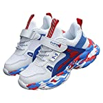 Hopscotch Running Boys Mesh Velcro T-3 Applique Athletic Shoes in White Color
