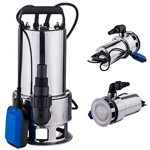 FCH Stainless Steel Submersible Dirty Clean Water Pump Sump Pump 1 1/2 HP 4200GPH w/ Float Switch & 15 FT Cord Swimming Pool Pond Heavy Duty Water Transfer (Steel Pump Sump Stainless)