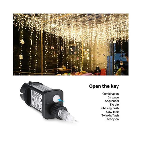 IDESION 600 LED 6M x 3M Tenda Luminosa Natale Esterno/Interno, Tenda Luci Natale IP65 con 8 Modalità di Illuminazione Natale Decorazioni Casa, Camera da Letto, Giardino- Luci LED Natale Bianco Caldo 4 spesavip