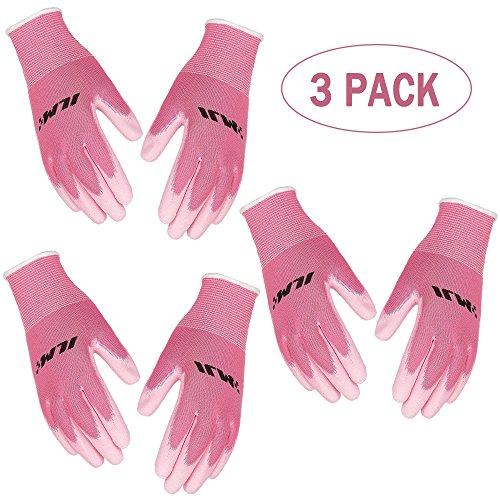 [3-Pack] ILM Safety Work Gloves Ultimate Grip For Garden Fishing Electrician Automotive Kids Women Men (M, PINK) (Works Tools Garden)