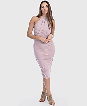 2aaf659962a9 Vicky Lilac High Neck Ruched Midi Dress: Amazon.co.uk: Welcome