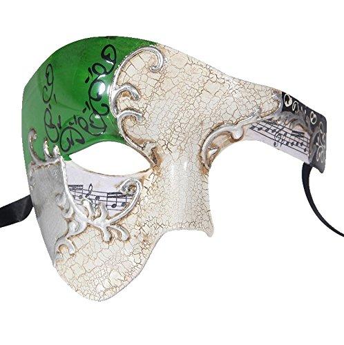 Luxury Mask Men's Phantom Of The Opera Half Face Masquerade Mask Vintage Design, Green/Silver Gay, One Size]()