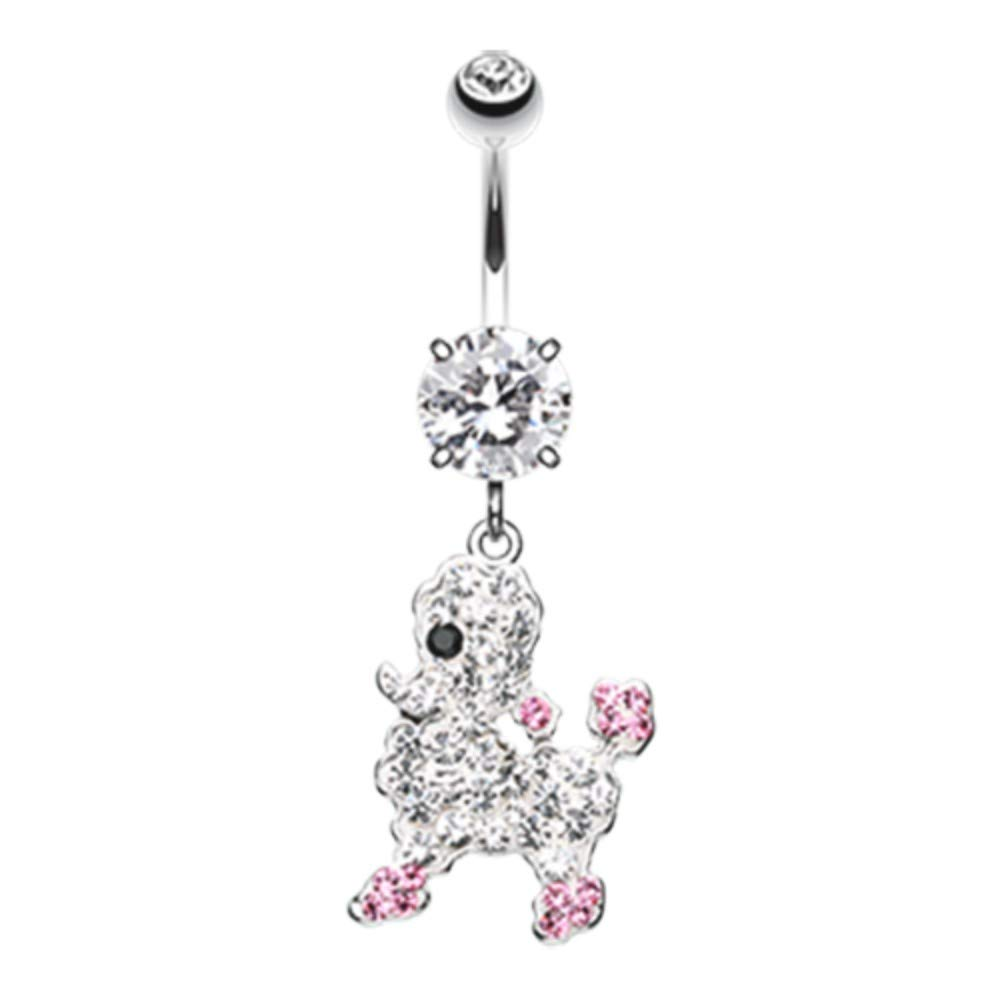 14 GA Adorable Poodle Multi-Sprinkle Dot Dangle Belly Button Ring 316L Surgical Stainless Steel Body Piercing Jewelry For Women and Men Davana Enterprises