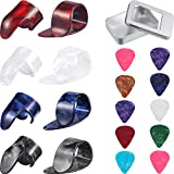 Jovetic Electric Acoustic Guitar Finger Picks Thumb Picks Set Thumb and Finger Picks Guitar Picks with Grid Case Storage Box