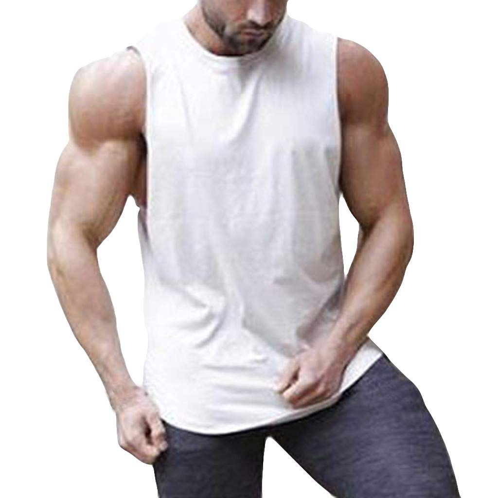 Men Tank Top Muscle Workout Tops Vest Stripe Splicing Pure Color Sleeveless Bodybuilding Tee Shirt (M, White)