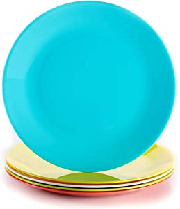 Living Fountain Tritan Plate Set, Reusable Dinnerware, Impact-resistant,Unbreakable, Shatter-Proof, Non-Toxic, BPA Free and Eco-friendly, Dishwasher and Microwave safe, Colorful 5 pack, Made in Taiwan