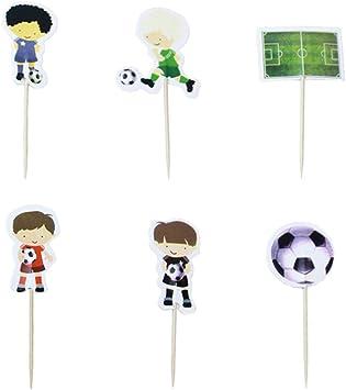 Amosfun 48 Piezas balón de fútbol Cupcake Toppers Deporte de ...