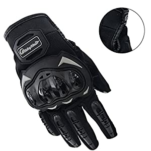 Sunhsine Top Cycling Gloves Mountain Bike Gloves Road Racing Bicycle Gloves Light Silicone Gel Pad Full Finger Riding Gloves Men's Hard Knuckle for Outdoor Sports Black