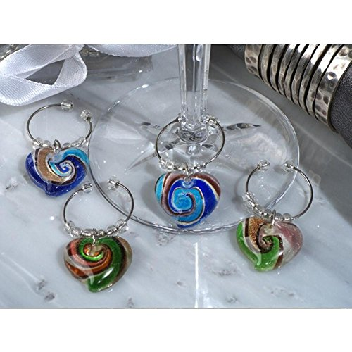 - Murano Art Deco Collection Heart Design Wine Charms - 12 Sets