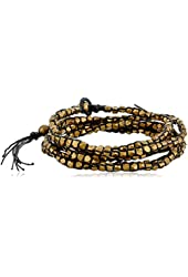 M. Cohen Handmade Designs Tiny Brass Beads on Colored Linen Triple Wrap Bracelet, 21.5""