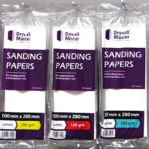 Drywall Master Sand Paper White DMSP150W 100mm x 280mm 150 Grit Pack of 5