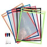 Daptsy 10 Pieces Dry Erase Pockets with 3 Wipe