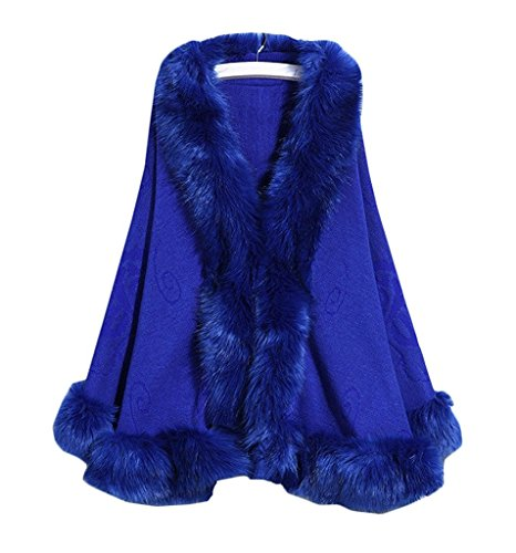 Blue Fox Fur Scarf (Kelaixiang Faux Fox Fur Shawls Jackets Plus Size Coats Wraps Winter Scarves (Blue))