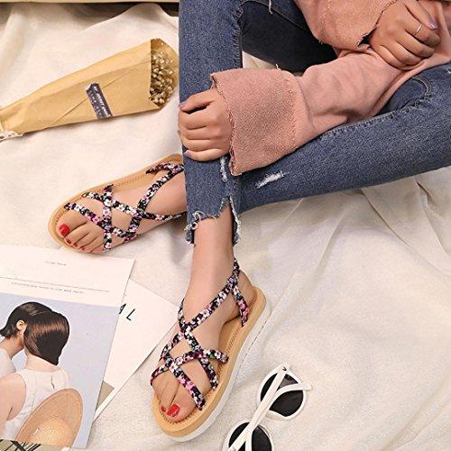 Binmer(TM) Summer Fashion Women Flip Flops Beach Sandals String Bands Flat Shoes Pink NdGtr3