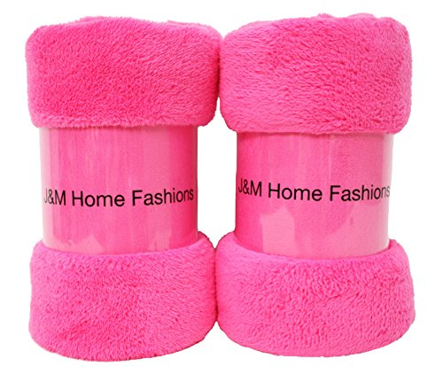 J & M Home Fashions Bright Fuzzy Fleece Throw, 50 by 60-Inch, Pink, - Fuzzy Light