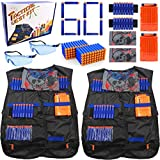 23Toyz Nerf Gun Tactical Vest Kit - Set of 2 Nerf Guns Accessories for N-Strike Elite Series, Nerf Vest, Refill Darts, Quick Reload Clips, Wrist Bands, Face Mask and Protective Glasses