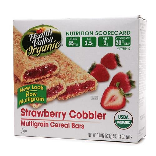 Health Valley Organic Multigrain Cereal Bars, Strawberry Cobbler 1.3 oz (Pack of 6)