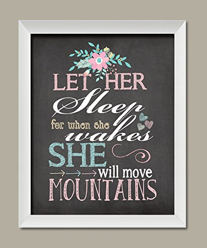 Let Her Sleep For When She Wakes She Will Move Mountains; Nursery Decor; One 11x14in White Framed Print. - Framed Sleep