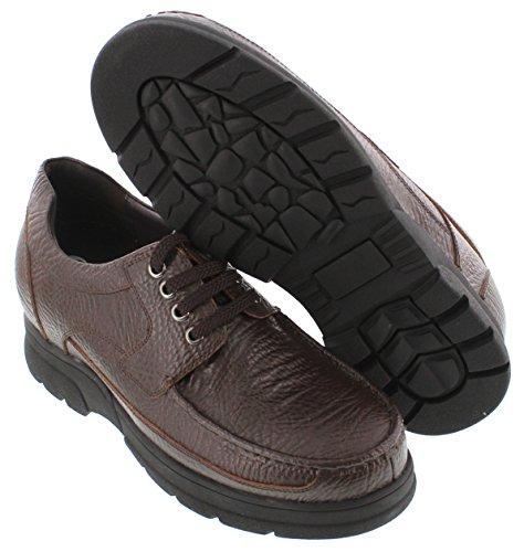 G-CALTO 1822-(3 7,62 cm, altezza Inches)-Tappetto aumentare ascensore scarpe, colore: marrone scuro, con lacci, leggere
