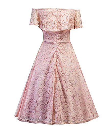 HEFEI para cóctel de para Vintage Rosado de Formal tamaño Manga Larga Vestido Color XIAOXIAO con de V Mujeres Floral Mujeres L Cuello Encaje en rxTwzx