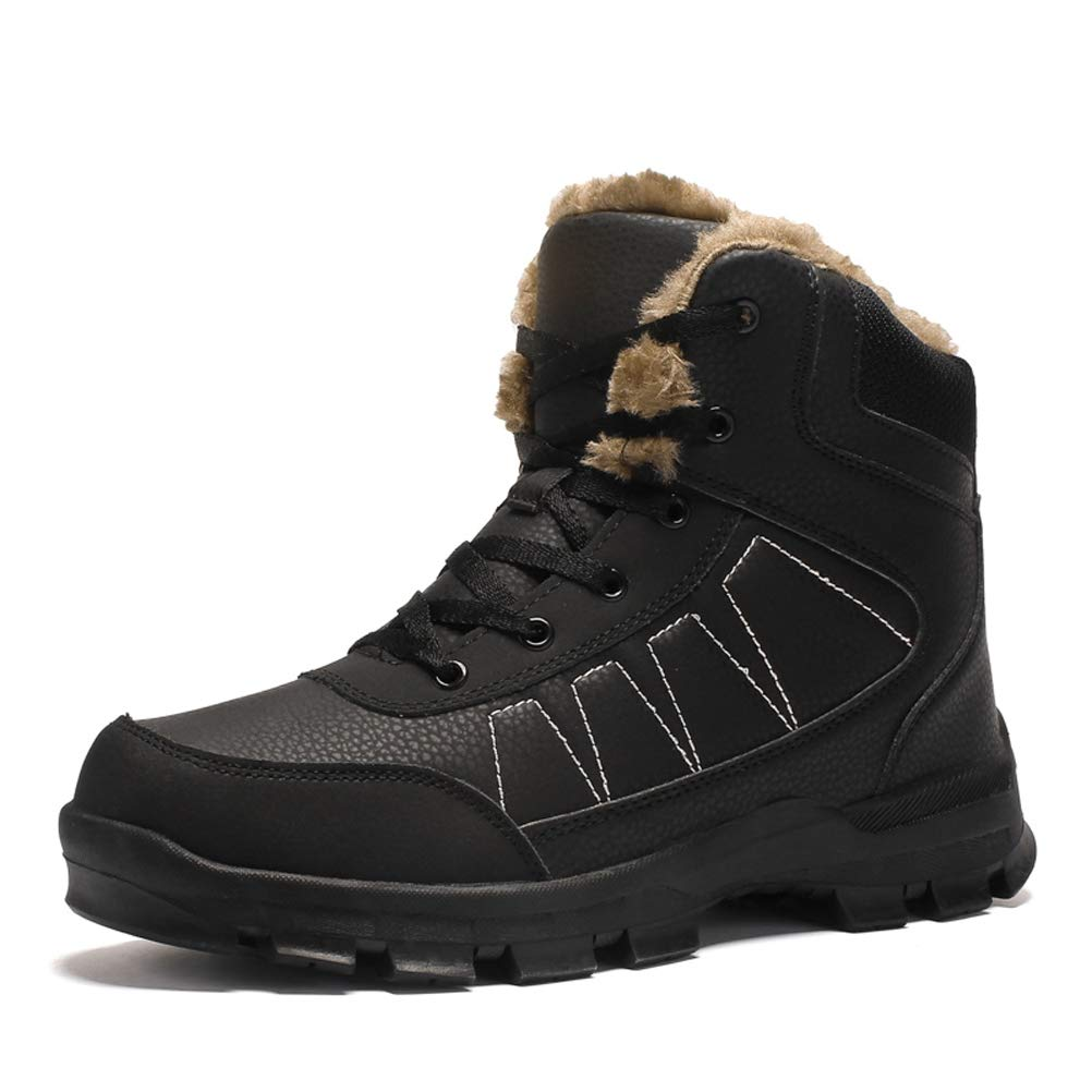 Dannto Mens Snow Boots Waterproof High Top Backpacking Hiking Shoes Outdoor Sneakers(Black,41) by Dannto
