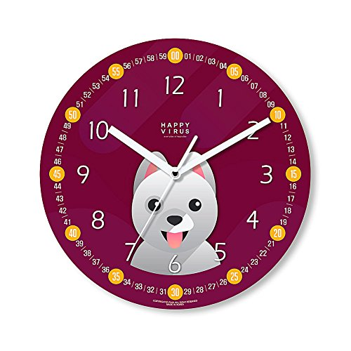 HappyVirus 11.22'' Educational Wall Clock, Children's Time Telling Teacher, Silent Non Ticking Home Decoration (Dog) #2116 by HappyVirus
