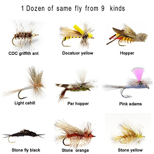 Midge Dry Fly (Aventik 12 Pieces Top Rating Midge dry, stone, hopper parachutes flies Trout Fly Fishing Flies Fly Assortment super sturdy mixed Flies realistic look (#16, Midges dries light cahill))
