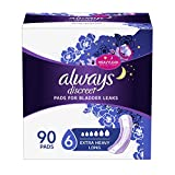 Always Discreet Incontinence Pads Ultimate Overnight, Long Length, 45 Count (Pack of 2) (Total 90ct)