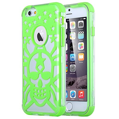 iPhone 6s Case, iPhone 6 Case, ULAK Halloween Series Slim Transparent Case with Soft Flex Silicone and Hard Clear Plastic Cover for iPhone 6S / 6 4.7 inch Device (Green Skull)